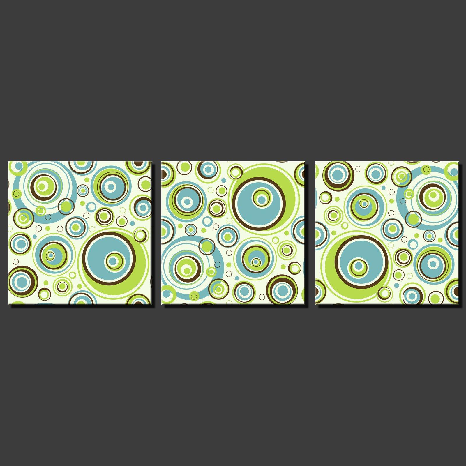 Abstract circle modern design 3 panels split canvas wall for Circle wall art