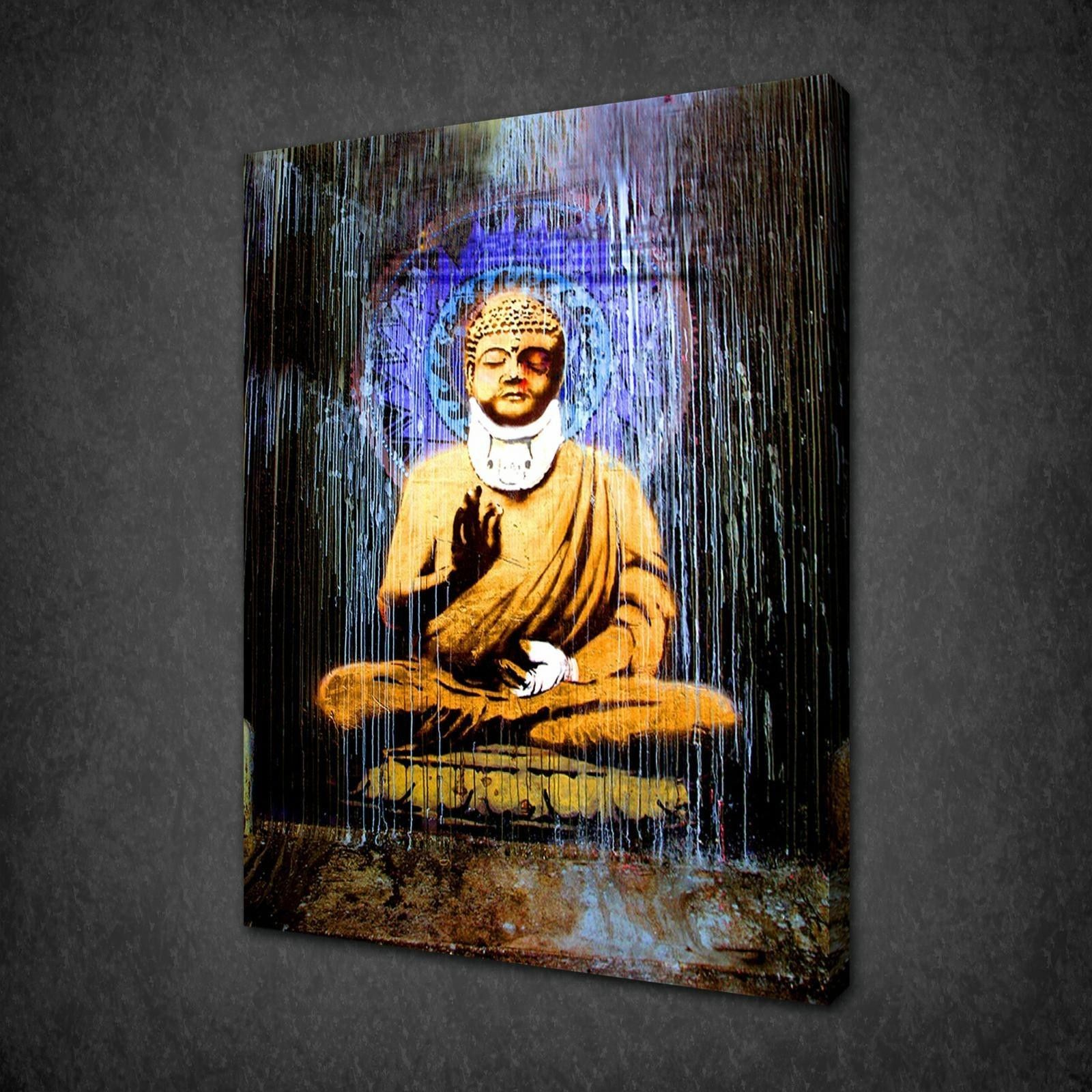 banksy buddha canvas wall art pictures prints free uk p p variety of sizes canvas print art. Black Bedroom Furniture Sets. Home Design Ideas