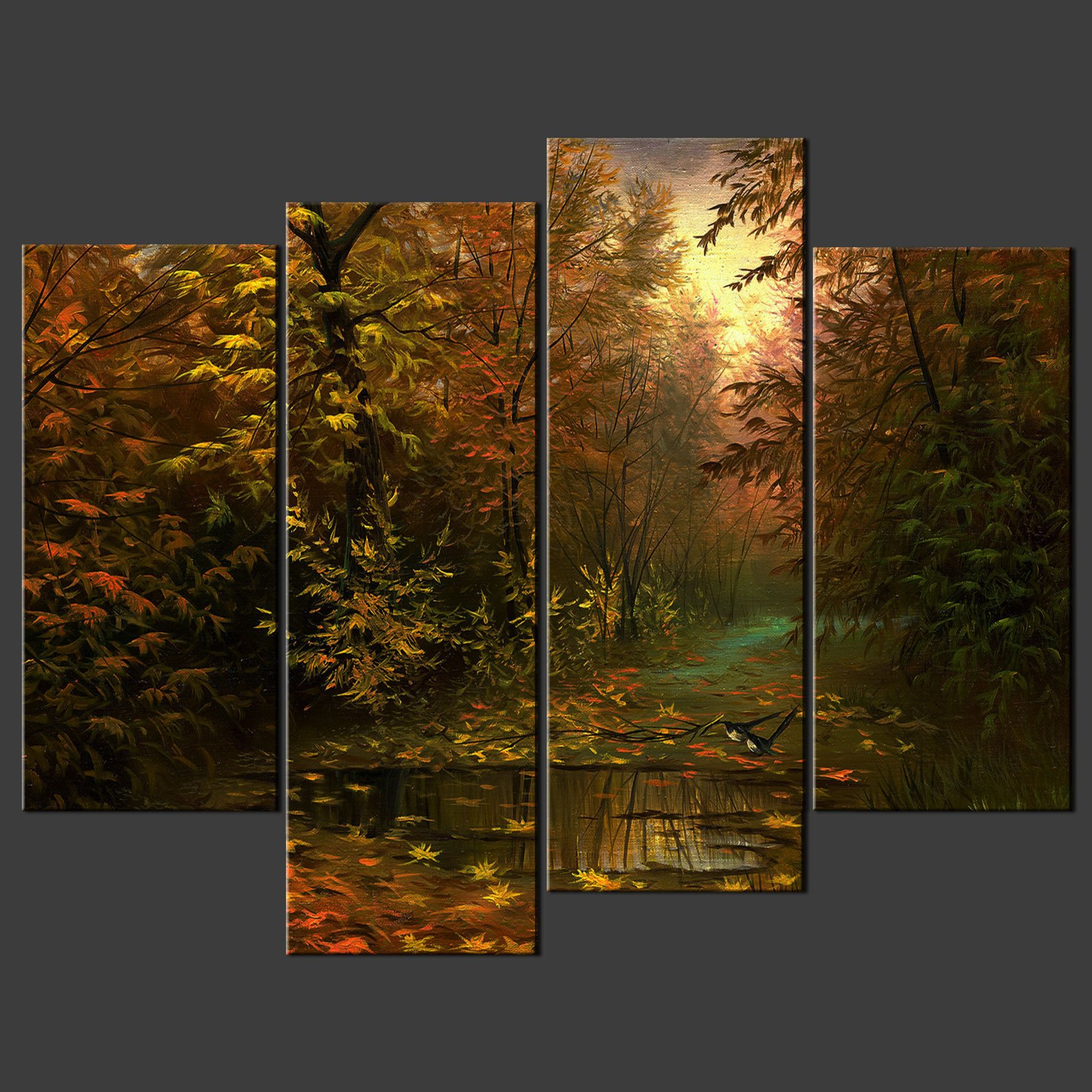 Wall Art Split Canvas : Birds in forest split canvas wall art pictures prints
