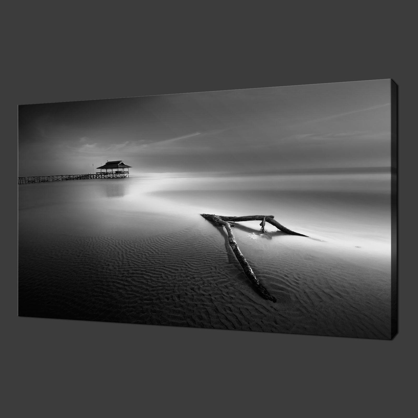 Black and white calm sea beach wood modern art canvas Black and white canvas art