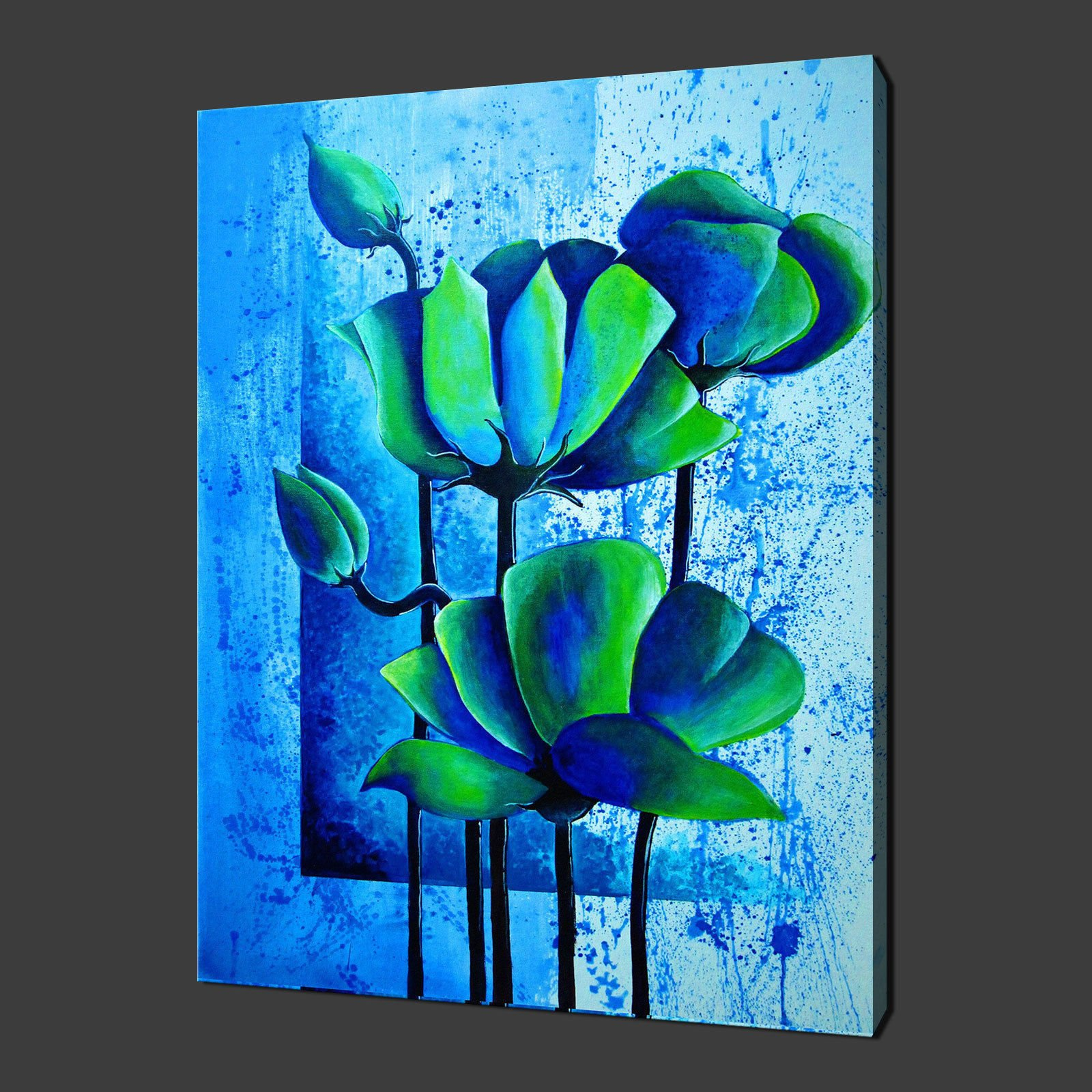 Blue green poppies modern flower art poster canvas print for Kitchen colors with white cabinets with blue flower canvas wall art