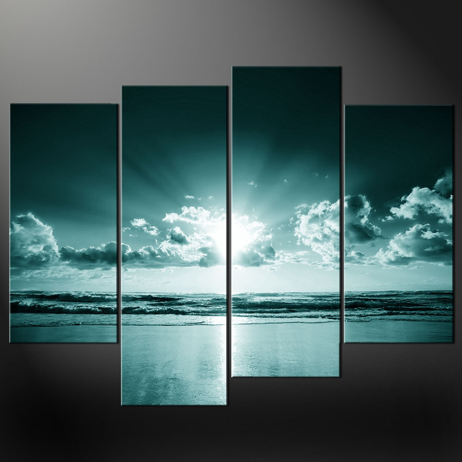Wall Art Split Canvas : Blue sea sunset split canvas wall art pictures prints