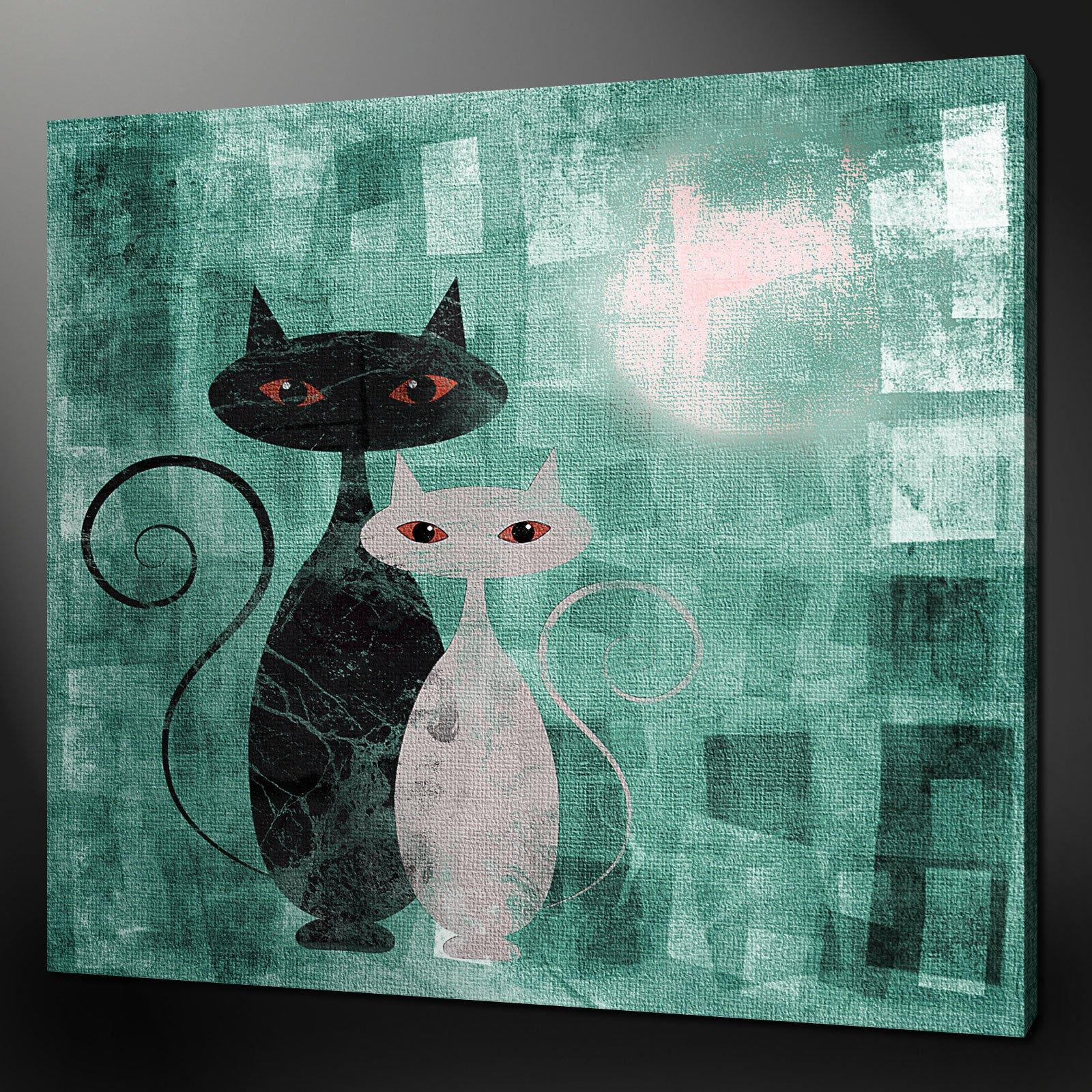 Cats Art Deco Teal Aqua Canvas Wall Art Pictures Prints 24