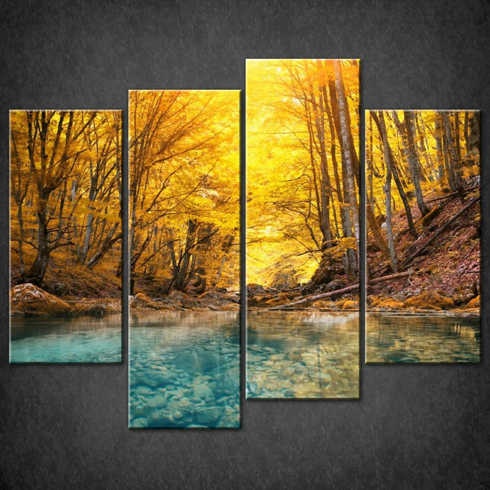 Wall Art Split Canvas : Forest autumn river split canvas wall art pictures prints