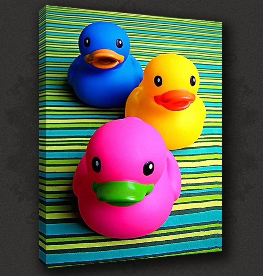 Funky ducks bathroom canvas print poster modern design for Funky wall art