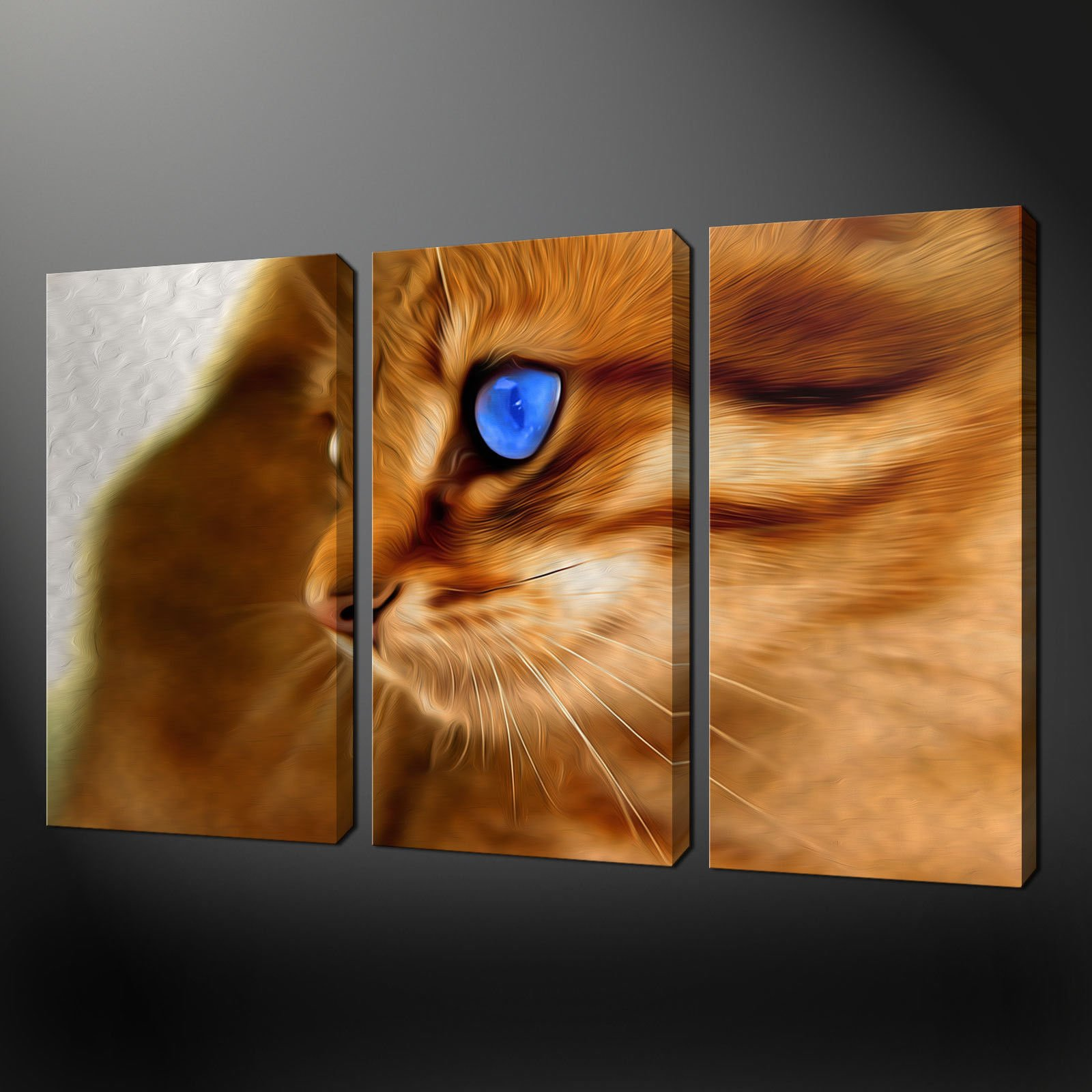 Ginger cat painting style canvas wall art pictures prints for Cat paintings on canvas