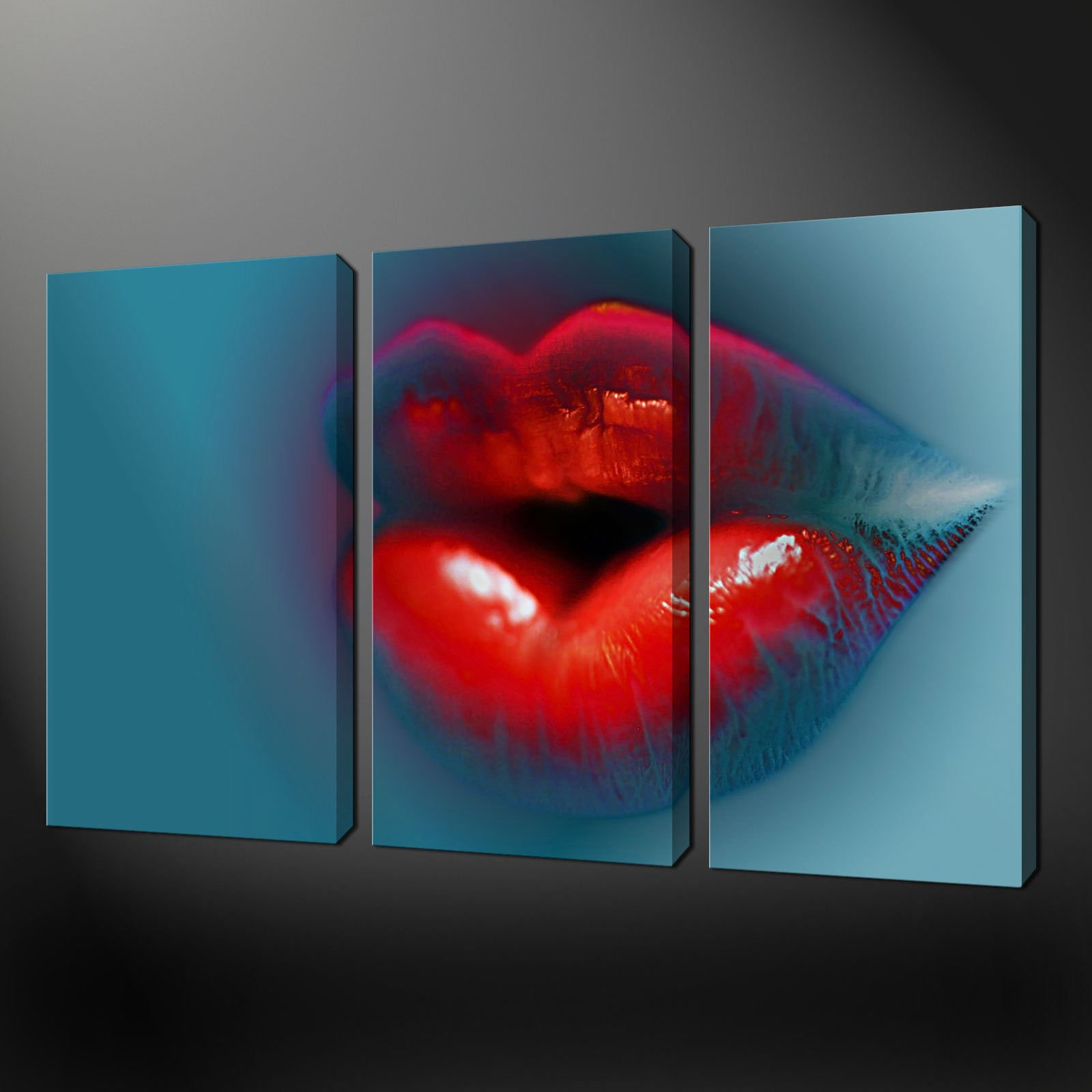 Split canvas wall art hot lips abstract three panels for Best website for canvas prints