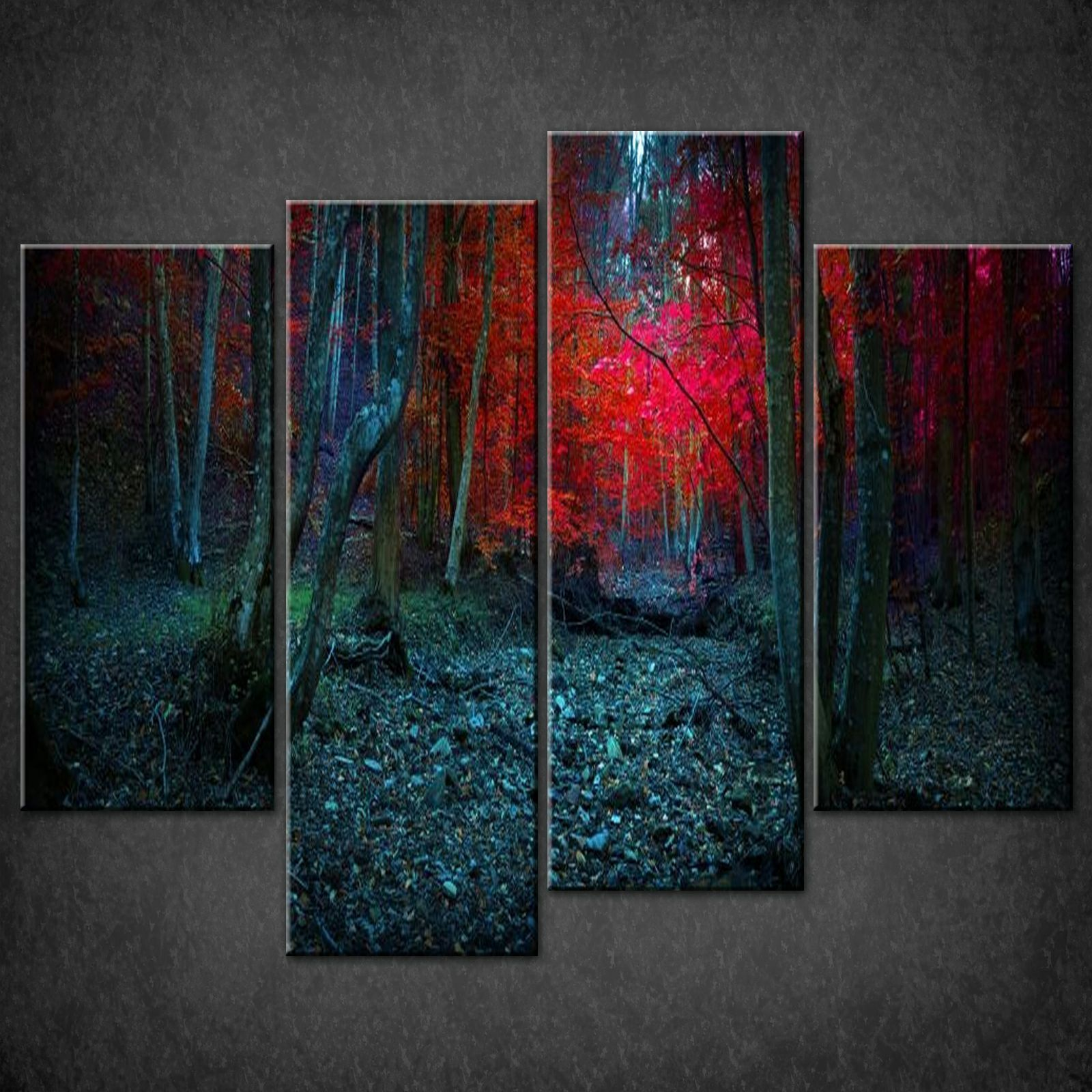 Wall Art Split Canvas : Mistic forest blue split canvas wall art pictures prints