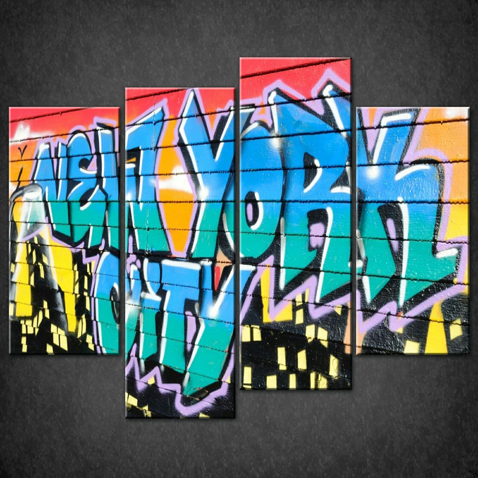 New York City Modern Canvas Painting Print Picture Home: NEW YORK CITY GRAFFITI MODERN CASCADE CANVAS PRINT PICTURE