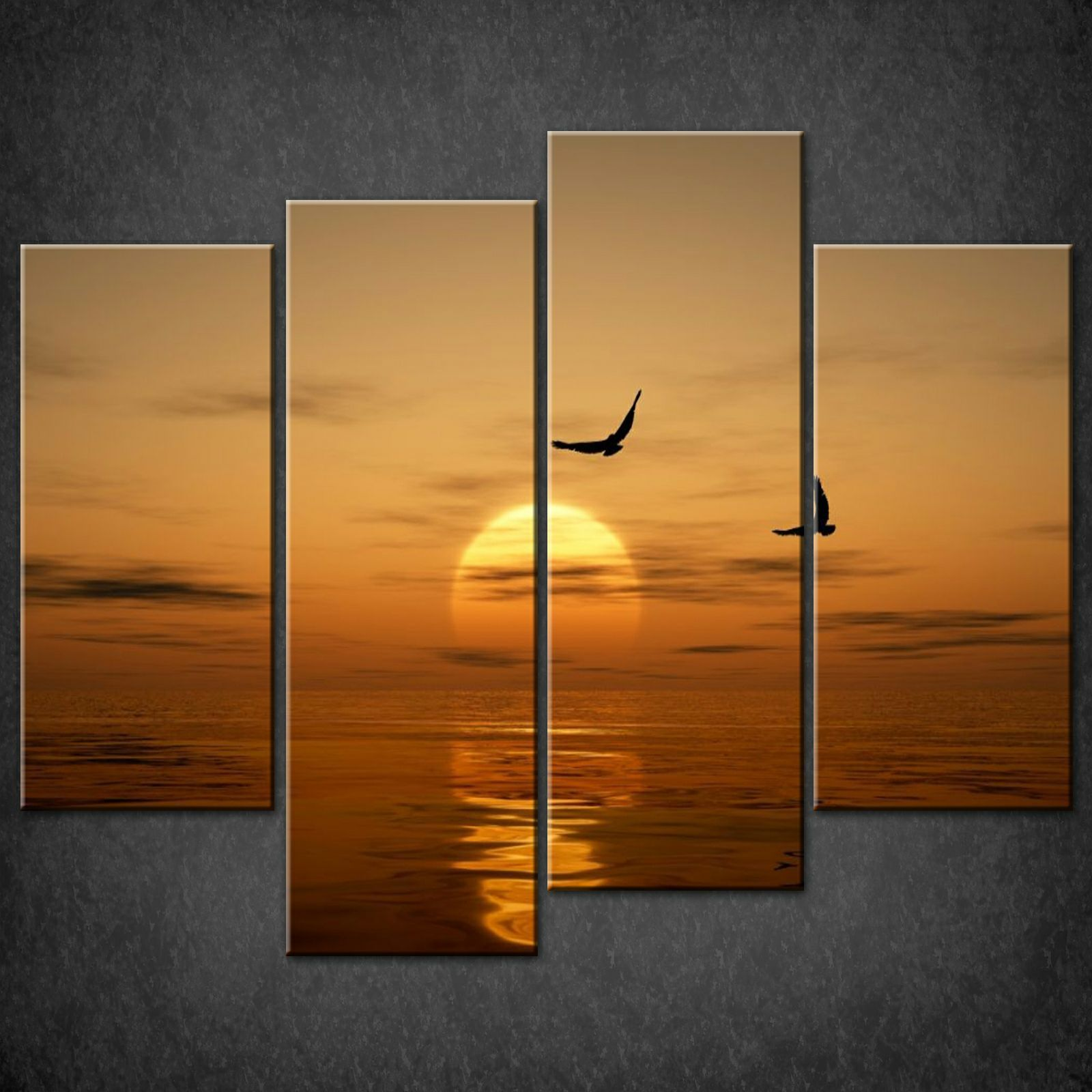 Wall Art Split Canvas : Ocean birds orange split canvas wall art pictures prints