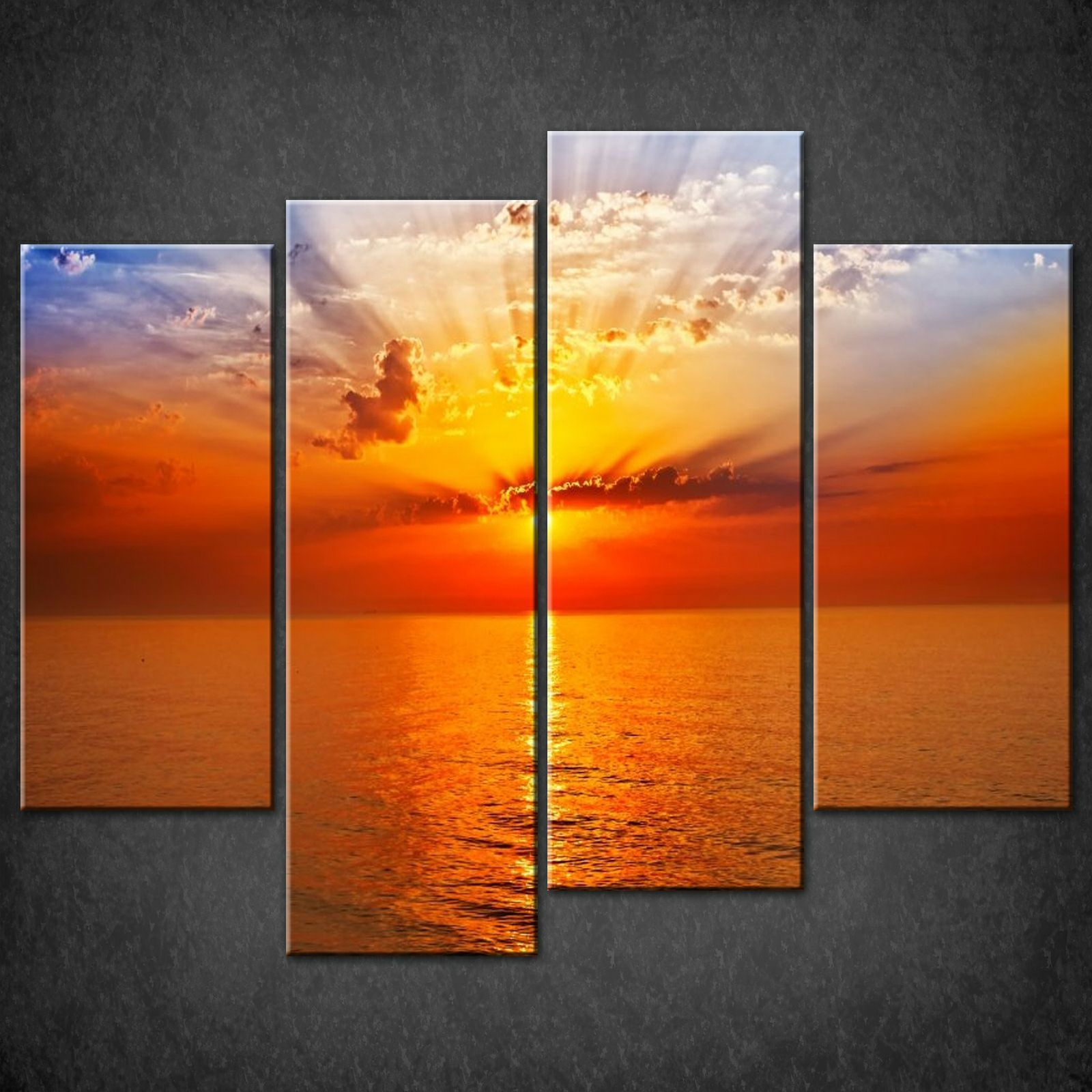 Orange red sunset seascape cascade canvas print picture for Orange wall art