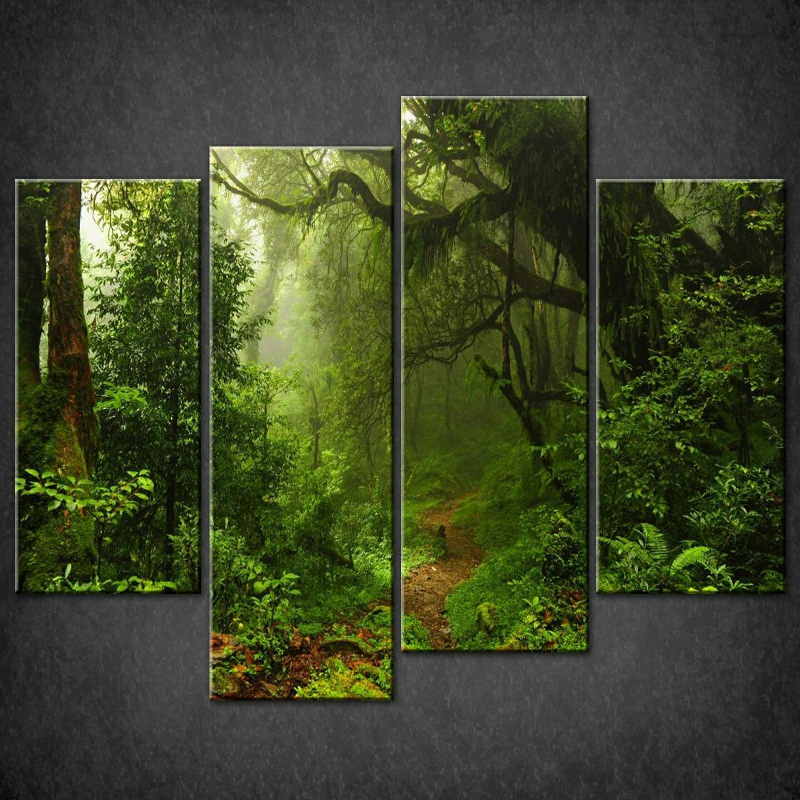 Wall Art Split Canvas : Path in forest split canvas wall art pictures prints