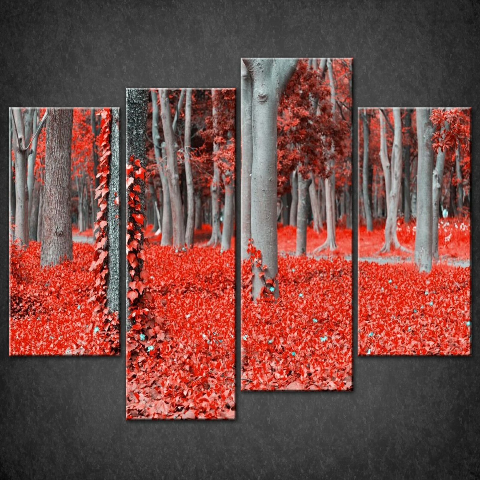 Wall Art Split Canvas : Red forest set of split canvas wall art pictures prints