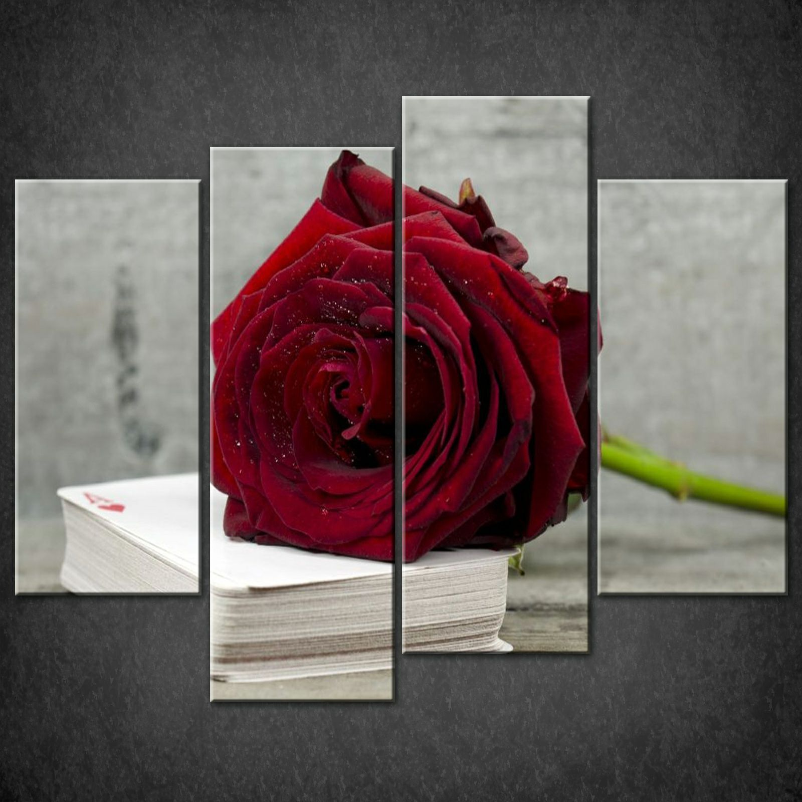 Wall Art Split Canvas : Rose cards set of split canvas wall art pictures prints