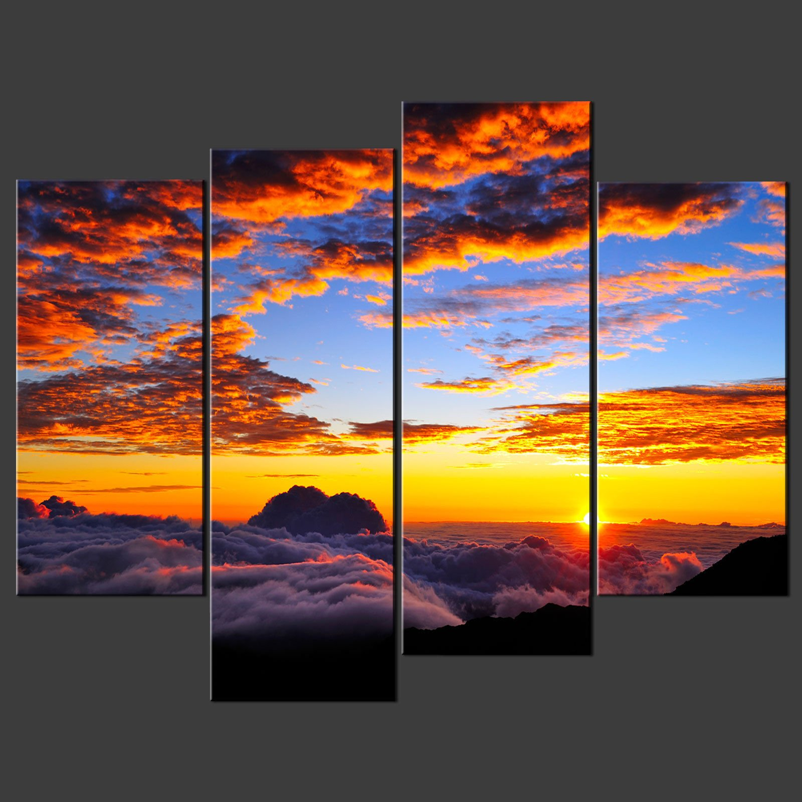Wall Art Split Canvas : Sunset above clouds split canvas wall art pictures prints