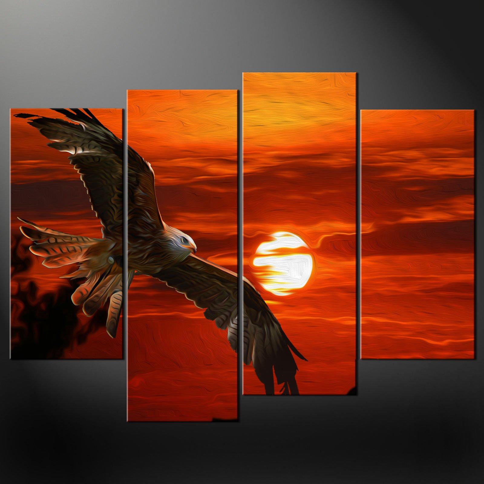 Sunset Eagle Orange Split Canvas Wall Art Pictures Prints