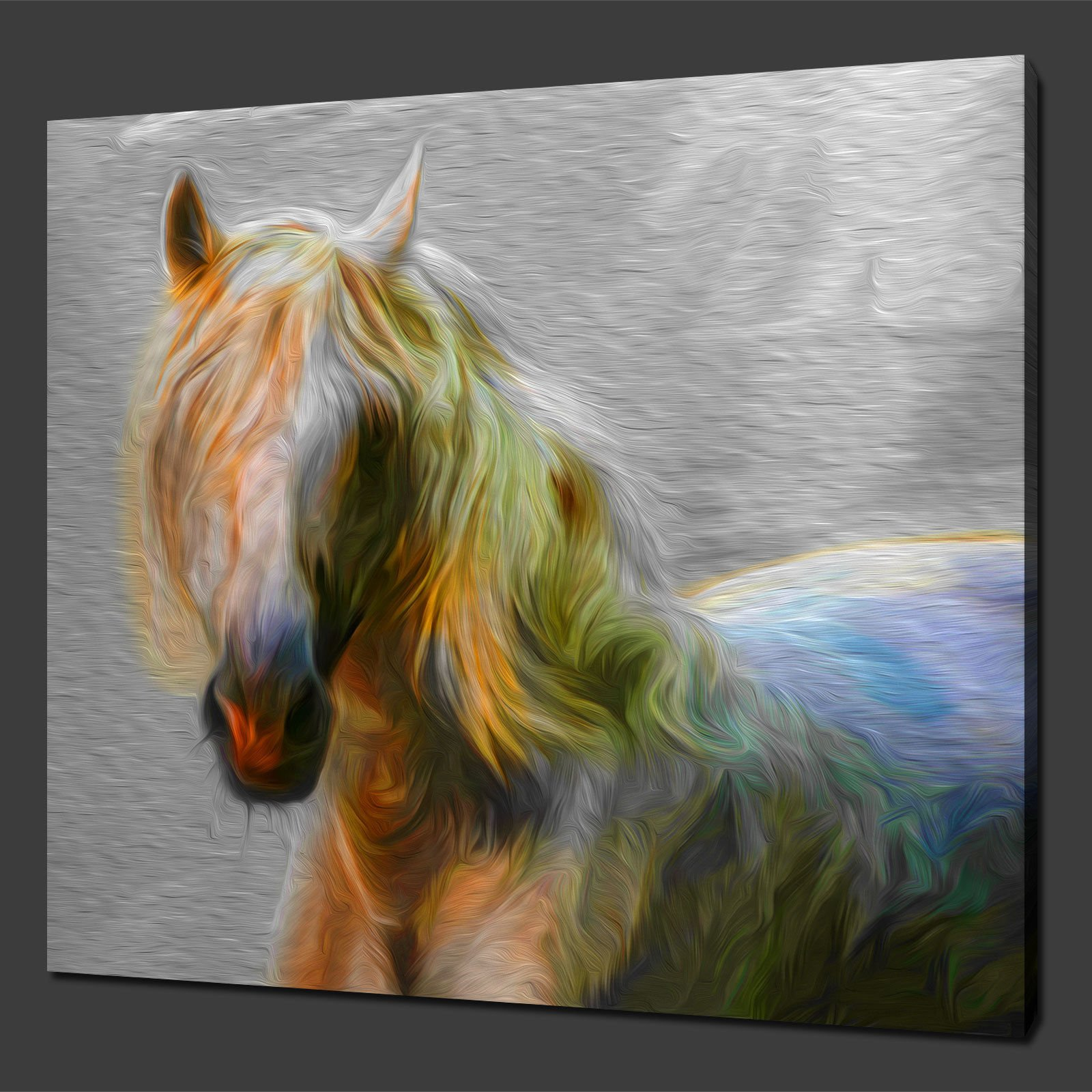 WHITE-HORSE-CANVAS-WALL-ART-PICTURES-PRINTS-12x12-