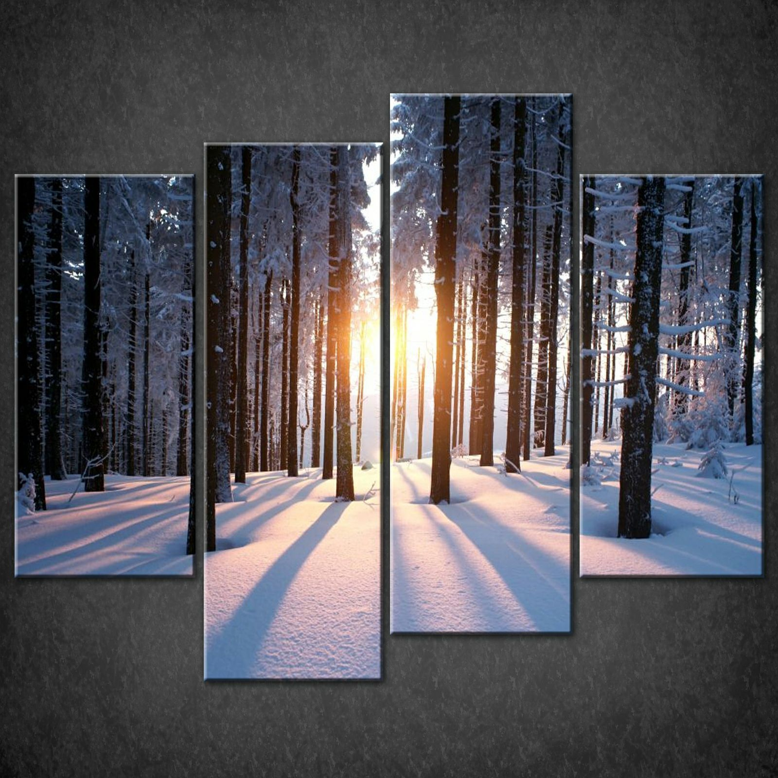 Wall Art Split Canvas : Winter sun white split canvas wall art pictures prints